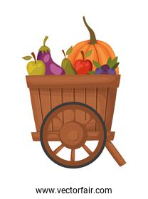 Isolated autumn pumpkin and fruits vector design
