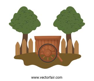 Isolated wood cart vector design