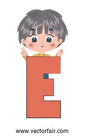 Boy cartoon with alphabet letter vector design
