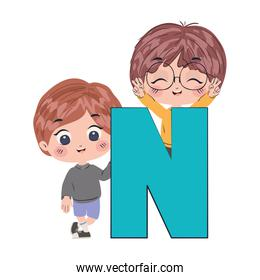 Isolated boys cartoons with alphabet letter vector design
