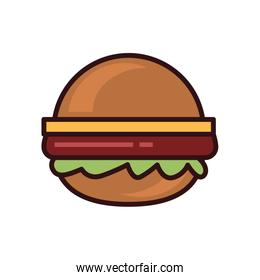 Isolated hamburger line and fill style icon vector design
