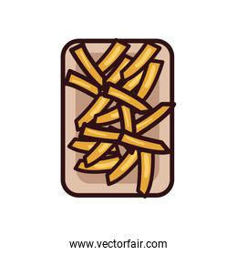Isolated french fries line and fill style icon vector design