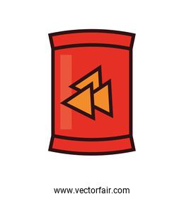 Isolated nachos bag line and fill style icon vector design