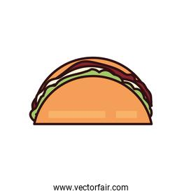 Isolated taco line and fill style icon vector design