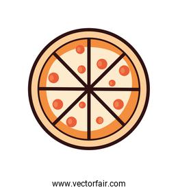 Isolated pizza line and fill style icon vector design