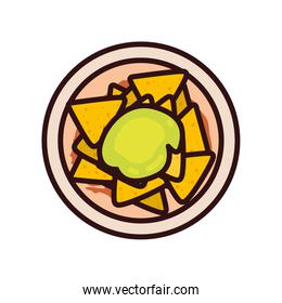 Isolated nachos line and fill style icon vector design