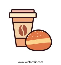 Isolated coffee mug with bread drink line and fill style icon vector design