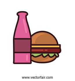 Isolated bottle and hamburger line and fill style icon vector design