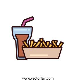 Isolated soda glass and french fries box line and fill style icon vector design
