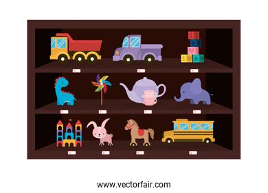 Isolated variety of toys vector design