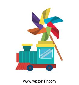 Isolated train and pinwheel toy vector design