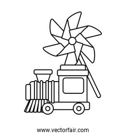 Isolated train and pinwheel toy, line style icon