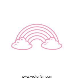 Isolated rainbow with clouds line style icon vector design