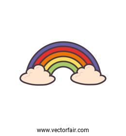 Isolated rainbow with clouds line and fill style icon vector design