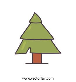 Isolated pine tree line and fill style icon vector design