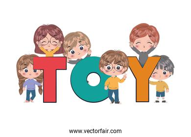 Kids cartoons with toy word vector design