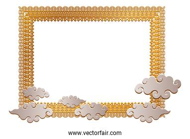 Chinese gold frame with clouds vector design