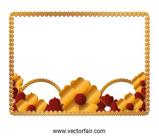 Gold frame with flowers vector design