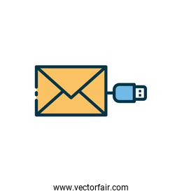 Isolated envelope and usb icon vector design