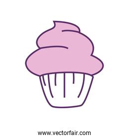 Isolated cupcake dessert line fill style icon vector design