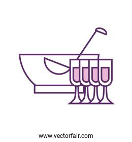 Isolated punch bowl and cups line fill style icon vector design