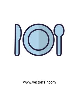 Isolated plate spoon and knife vector design