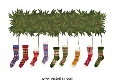 Merry christmas socks vector design