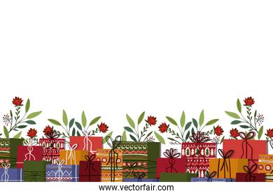 Merry christmas gifts and leaves vector design