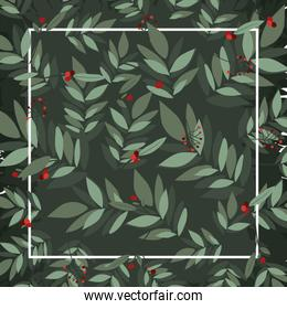 Winter leaves frame vector design
