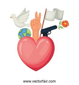 Heart of human rights concept vector design