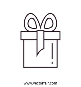 Gift with bowtie line style icon vector design
