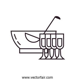 Isolated punch bowl and cups line style icon vector design