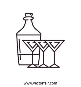 Isolated alcohol cocktails and bottle line style icon vector design