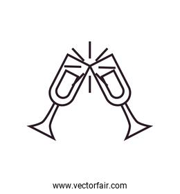 Isolated champagne cups line style icon vector design
