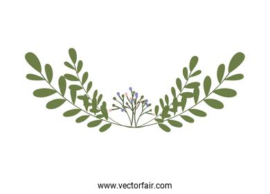 Isolated leaves wreath vector design