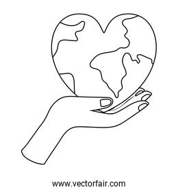 Isolated planet heart vector design