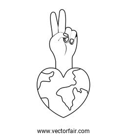Planet heart and hand of human rights concept vector design