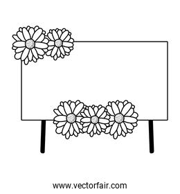 Isolated banner label with flowers vector design