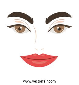 Isolated female face vector design