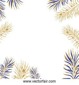 Isolated tropical blue and gold leaves vector design
