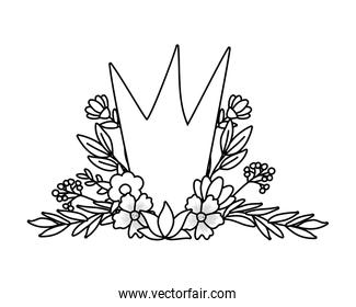 Isolated crown with flowers and leaves vector design