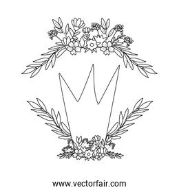 crown with flowers and leaves wreath vector illustration