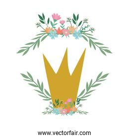 crown with flowers and leaves wreath vector design