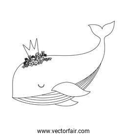 Cute whale with crown vector illustration
