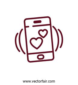 Isolated hearts inside smartphone vector design