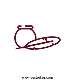 Isolated bowl and feather pen vector design