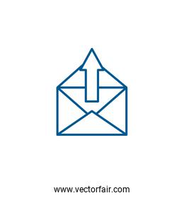 Isolated envelope message and upload arrow line style icon vector design