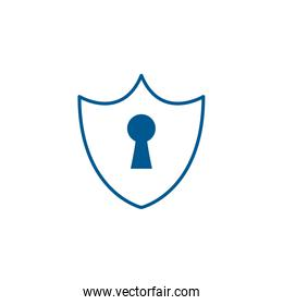 padlock shield of security system line style icon vector design
