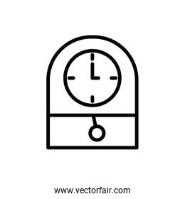Isolated wood and classic clock instrument vector design