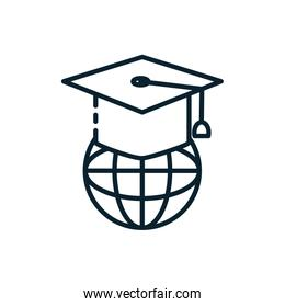 Isolated graduation cap and global sphere vector design